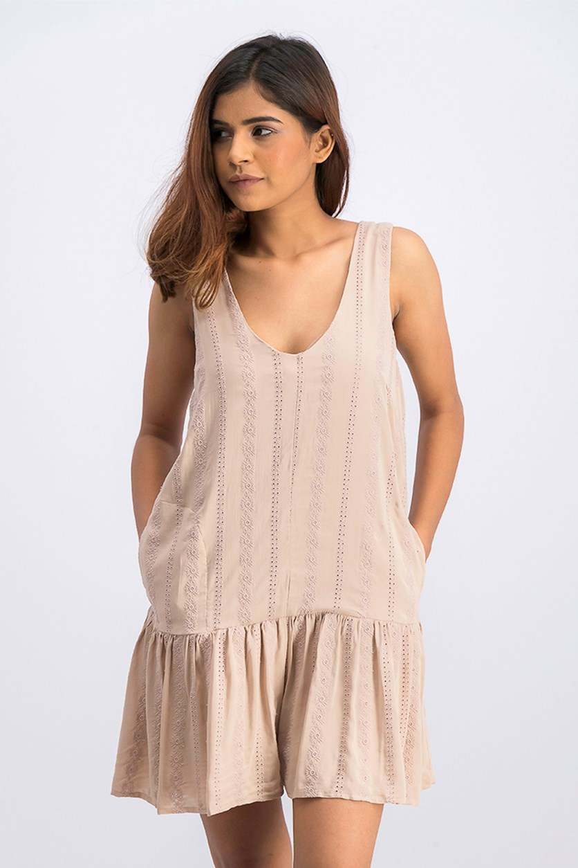 Women's Drop-Waist Embroidered Romper, Sand