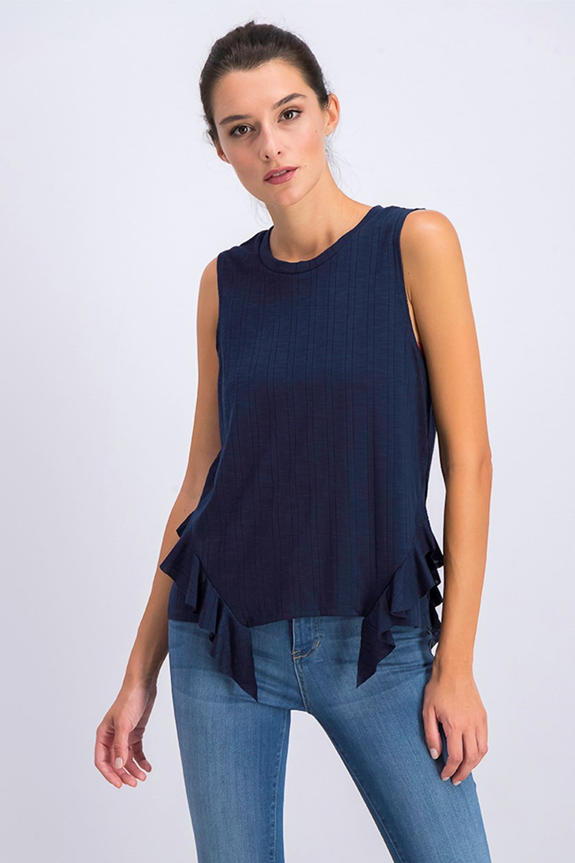 Womens Ruffled Sleeveless Tank Top, Navy