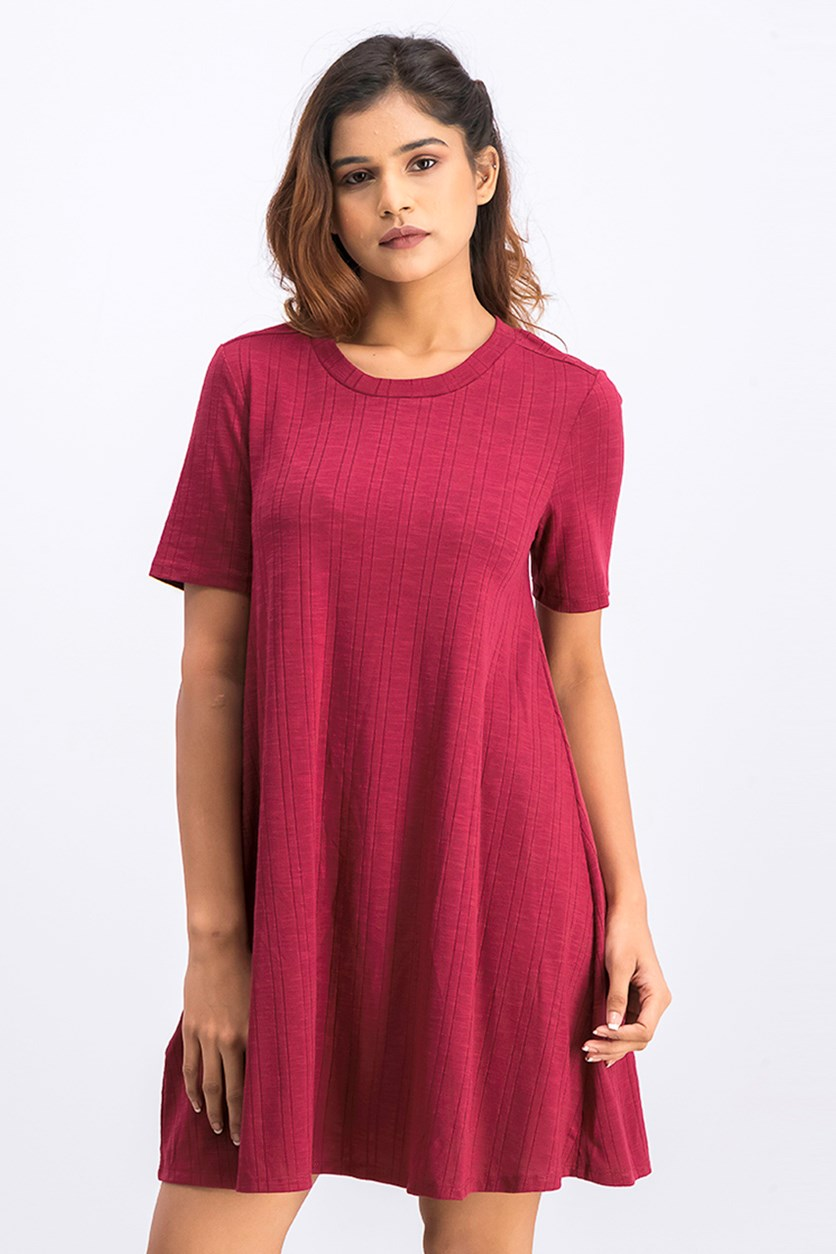 Women's Back Yoke A-Line Dress, Ruby