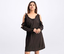 BCBGeneration Ruffled Cold Shoulder Dress, Coffee Bean