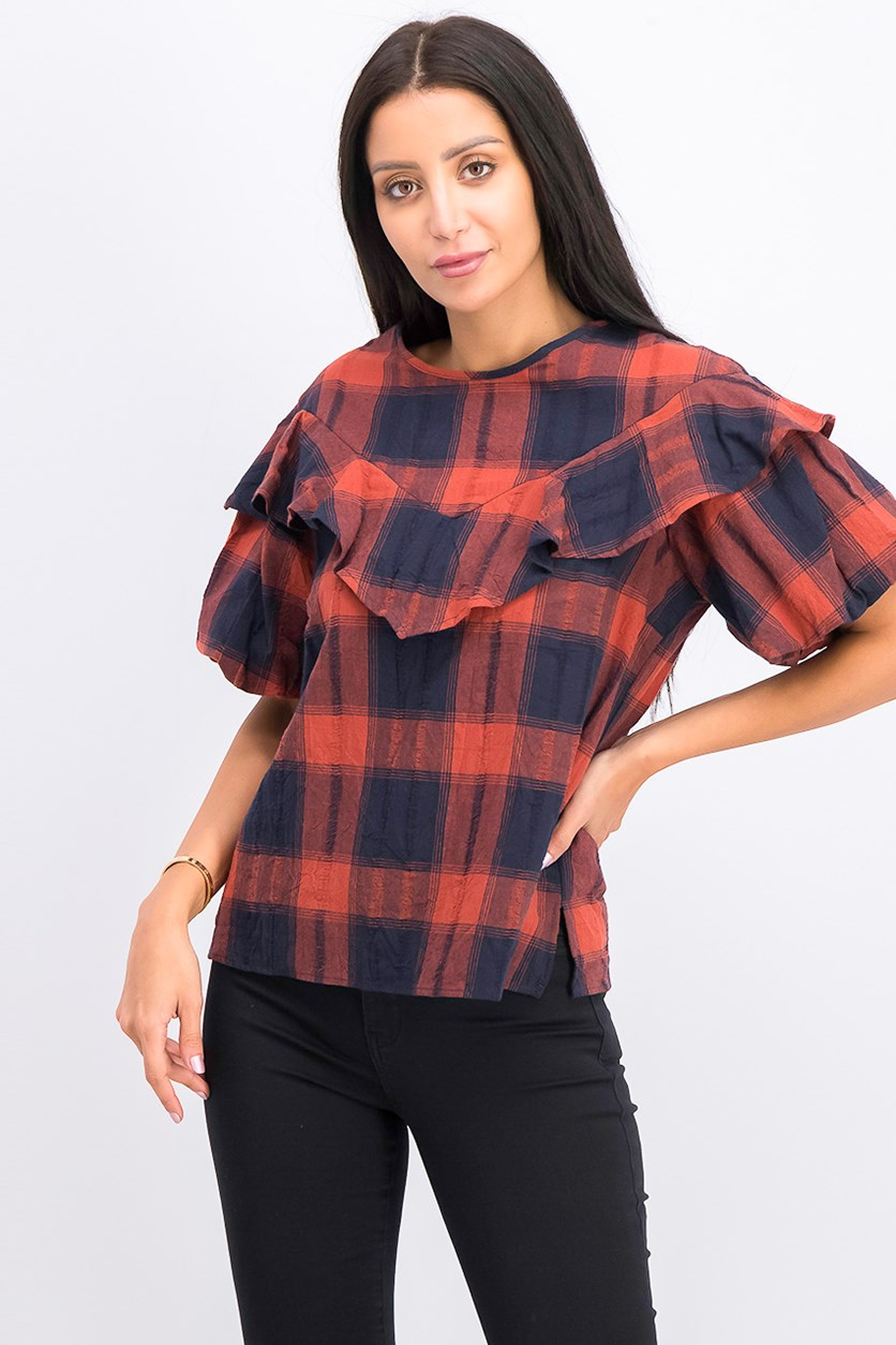 Plaid Bubble-Sleeve Top, Navy Combo