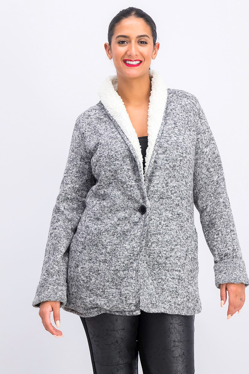 Women's Sherpa Sweater, Grey/Off White