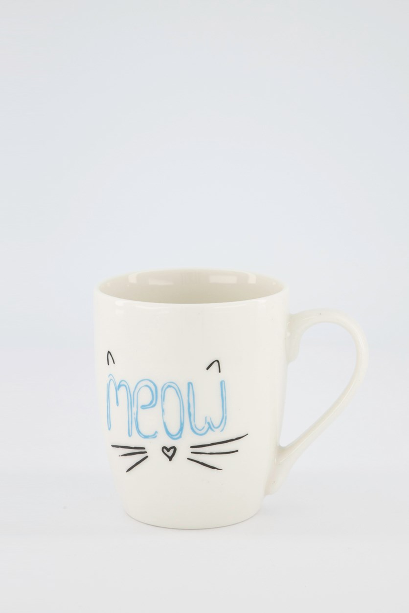 Printed Meow Mugs, White