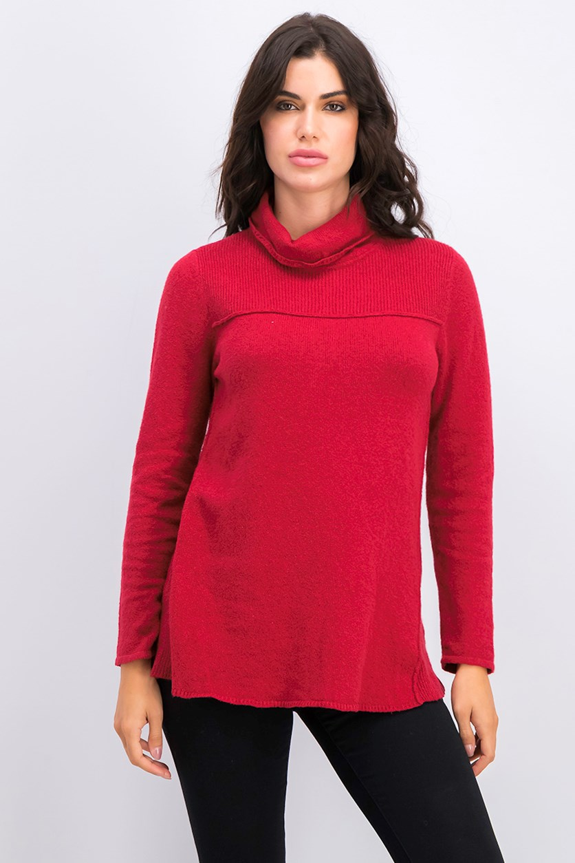 Petite Turtle Neck Tunic Sweater, Canyon Red