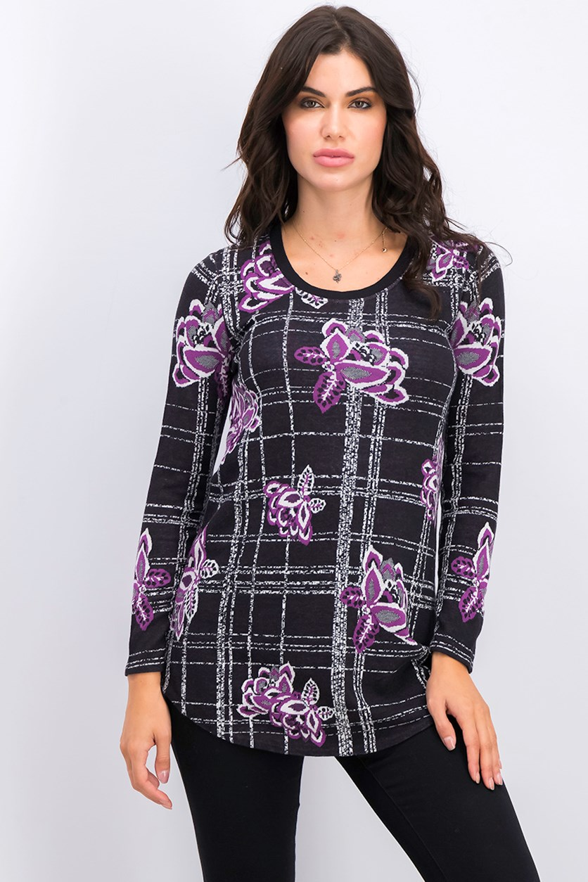 Petite Long Sleeve Tunic Sweater, Black/Purple