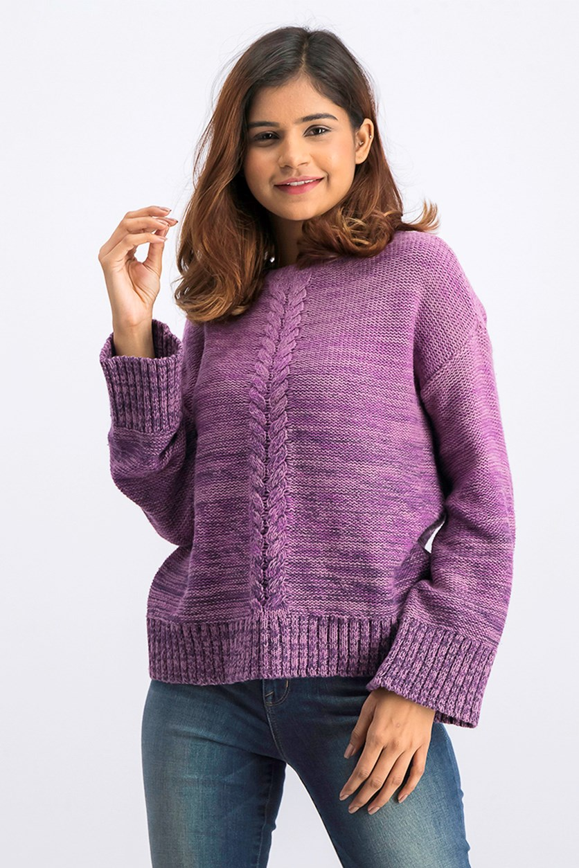 Women's Knitted Sweater, Dark Grape