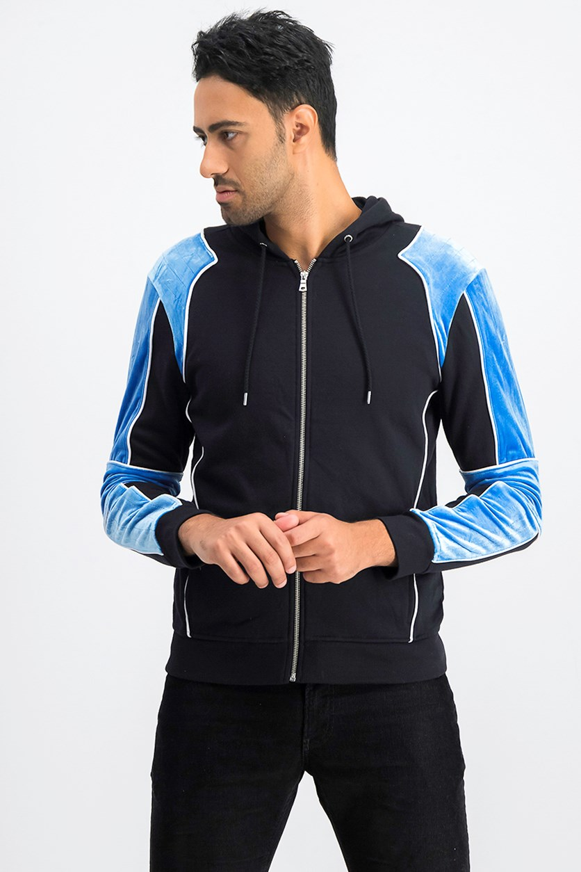 International Concepts Men's Boulder Velour Hoodie, Black/Blue