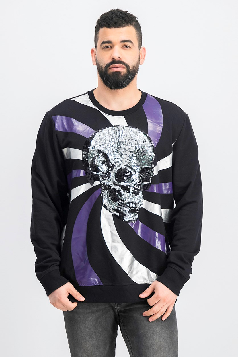 Men's Pullover Long-Sleeve Skull Graphic Sweater, Deep Black