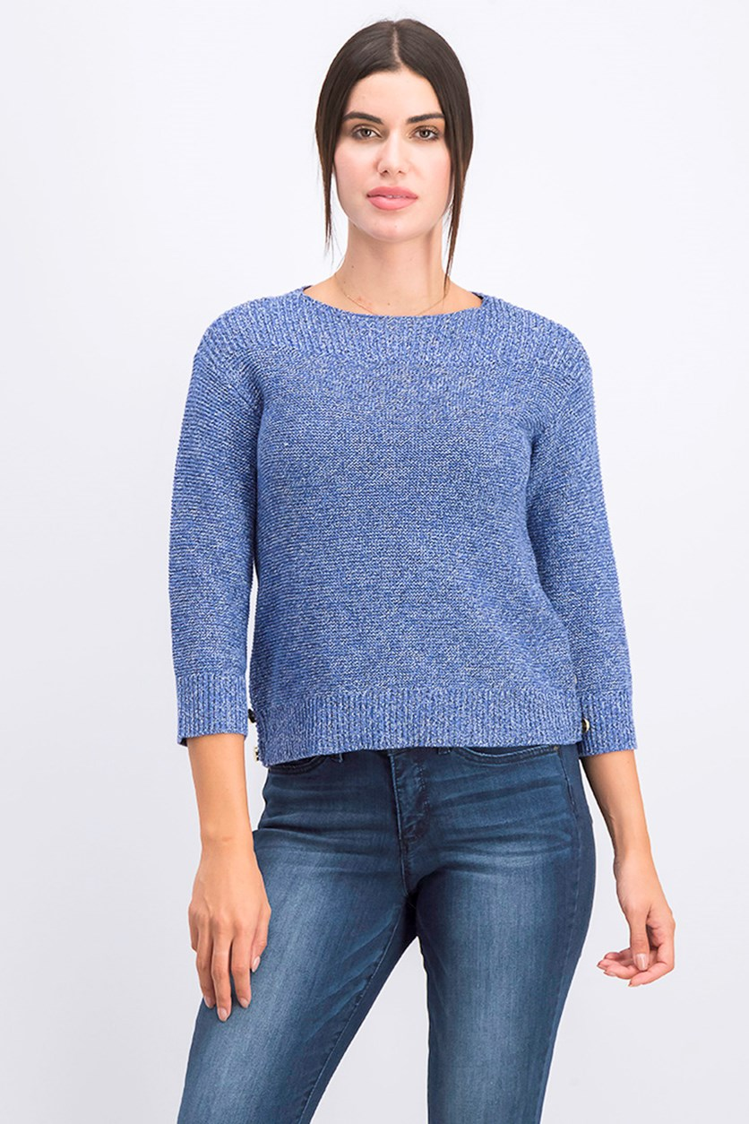 Petite Button-Trim Sweater, Admiral Blue Combo