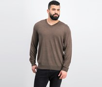 Club Room Men's V-Neck Sweater, Taupe Heather