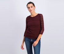 Charter Club Petite Lace 3/4-Sleeve Top, Maroon