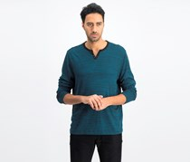 Men's Textured Space-Dyed Henley, Emerald Teal