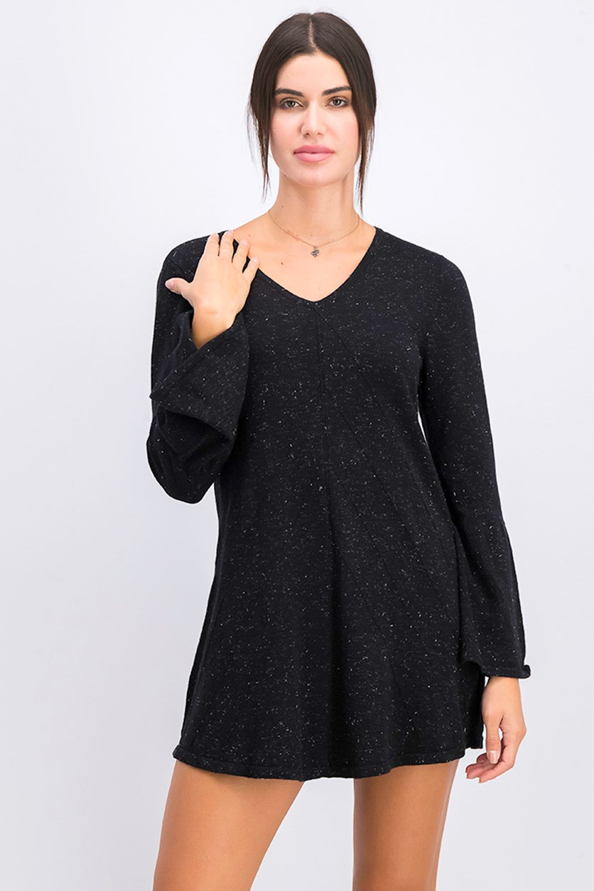Style&co. Women's Bell Sleeve V-neck Shine Sweater, Deep Black