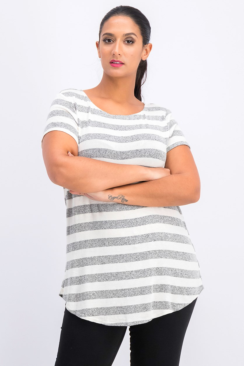 Women's Short Sleeve Striped Basic T-Shirt, Gray/White