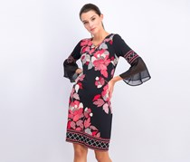 Jm Collection Women's Chiffon-Sleeve Keyhole Floral Dress, Delicate Dot