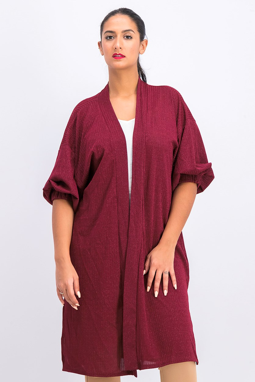 Women's Open Front Cardigan, Burgundy