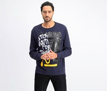 Men's Split Graphic-Print Long-Sleeve T-Shirt, Night Sky