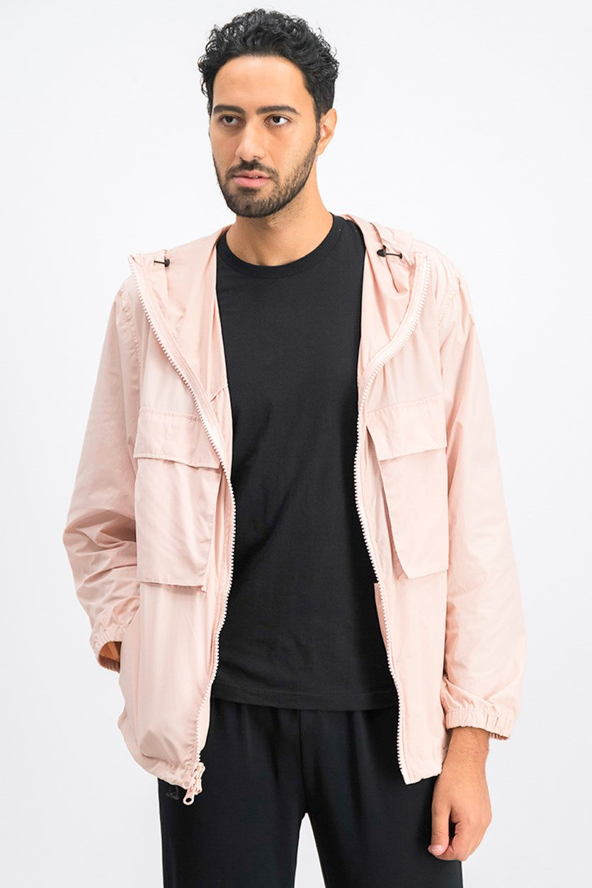 Men's Hooded Windbreaker Jacket, Rose Smoke