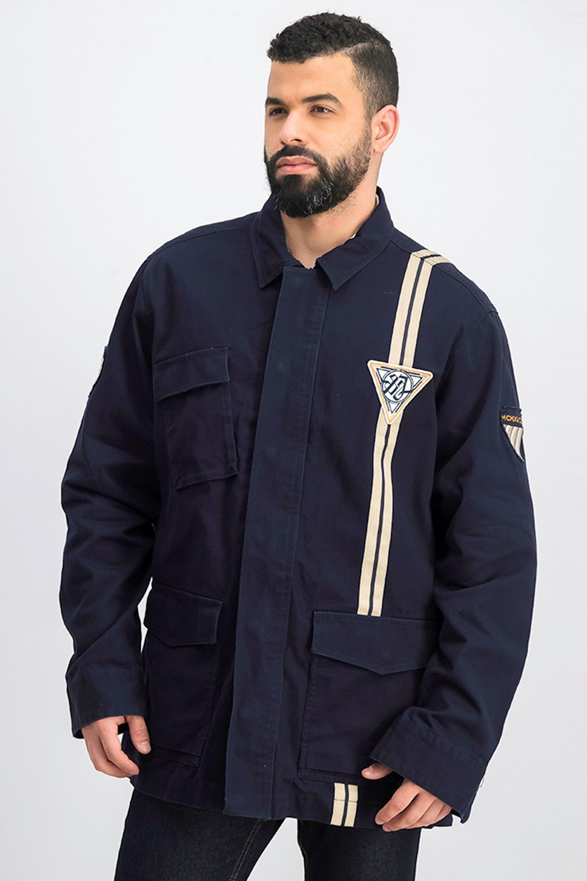 Mens Patch Field Jacket, Dark Blue