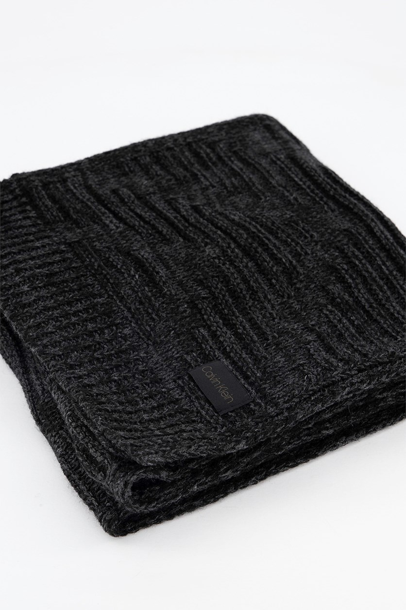 Men's Textured Rectangle Scarf, Black Heather