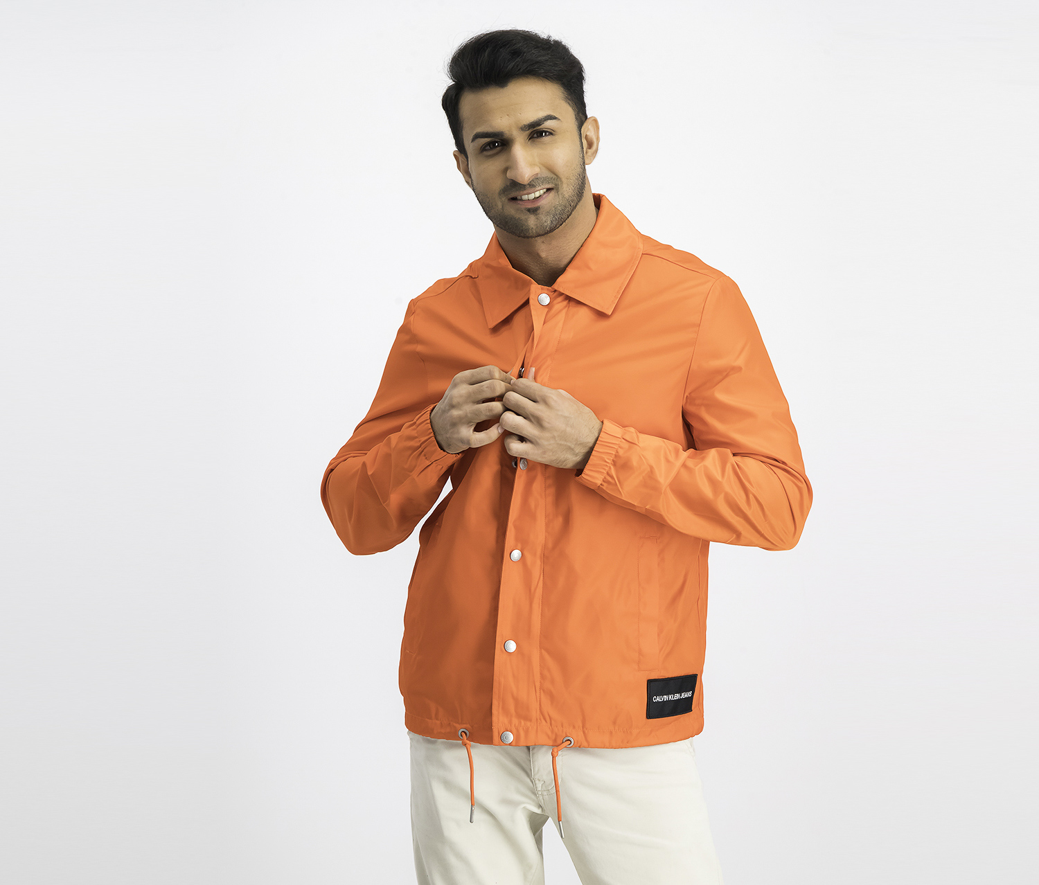 Men's Monogram Coaches Jacket, Pumpkin Red