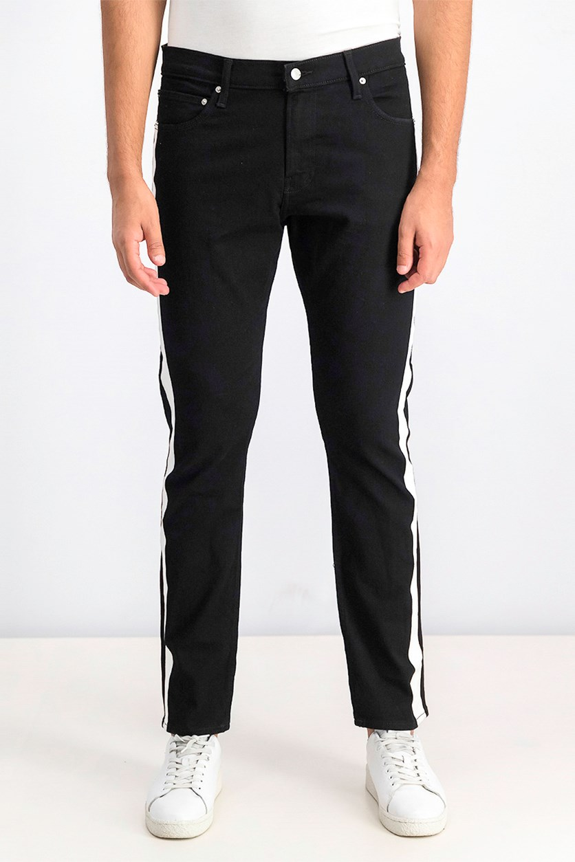 Men's Side Stripe Slim Leg Jeans, Black