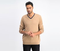 Mens V-Neck Knit Pullover Sweater, Caramel Heather