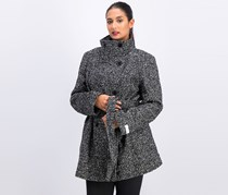 Calvin Klein Women's Double Breasted Coat, Black/Grey