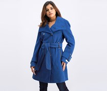 Women's Double Breasted Belted Trench Coat, Blue