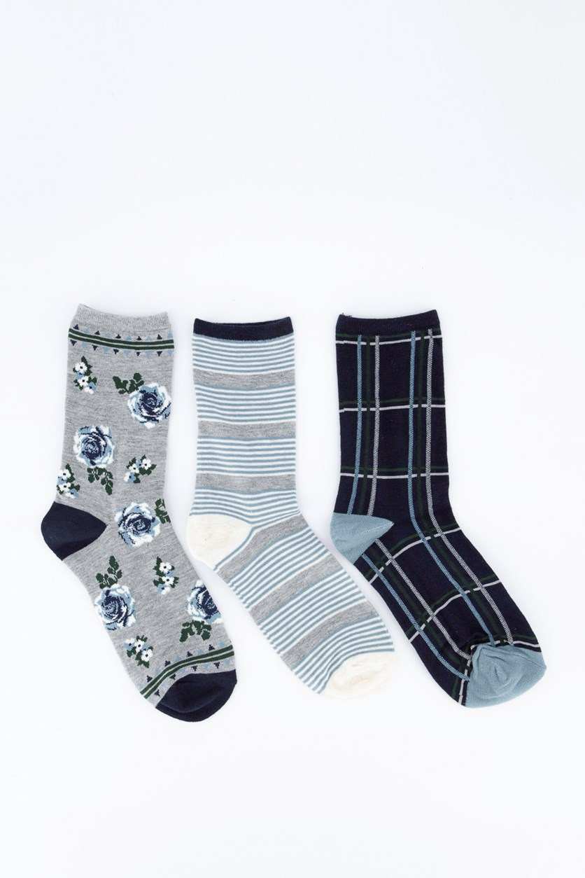 Tossed Rose 3 Pairs of Socks, Gray/Navy
