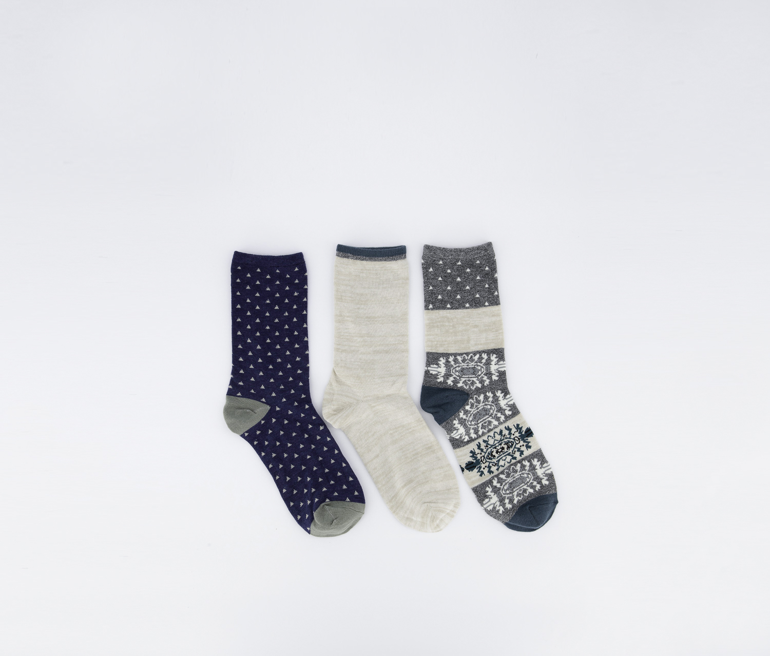 Aztec 3 Pairs of Socks, Navy/Gray