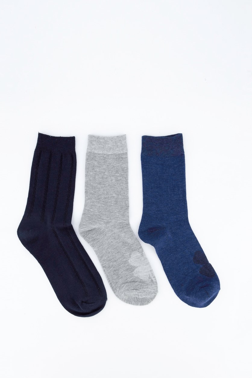 3 Pairs of Socks, Navy/Gray
