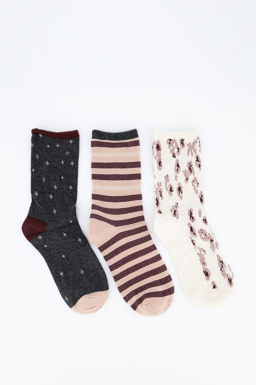 3 Pairs of Socks, Maroon/Cream