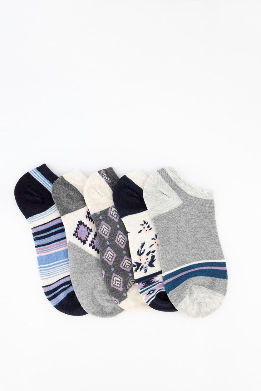 Women's 5 Pack Socks, Oatmeal/Grey/Navy
