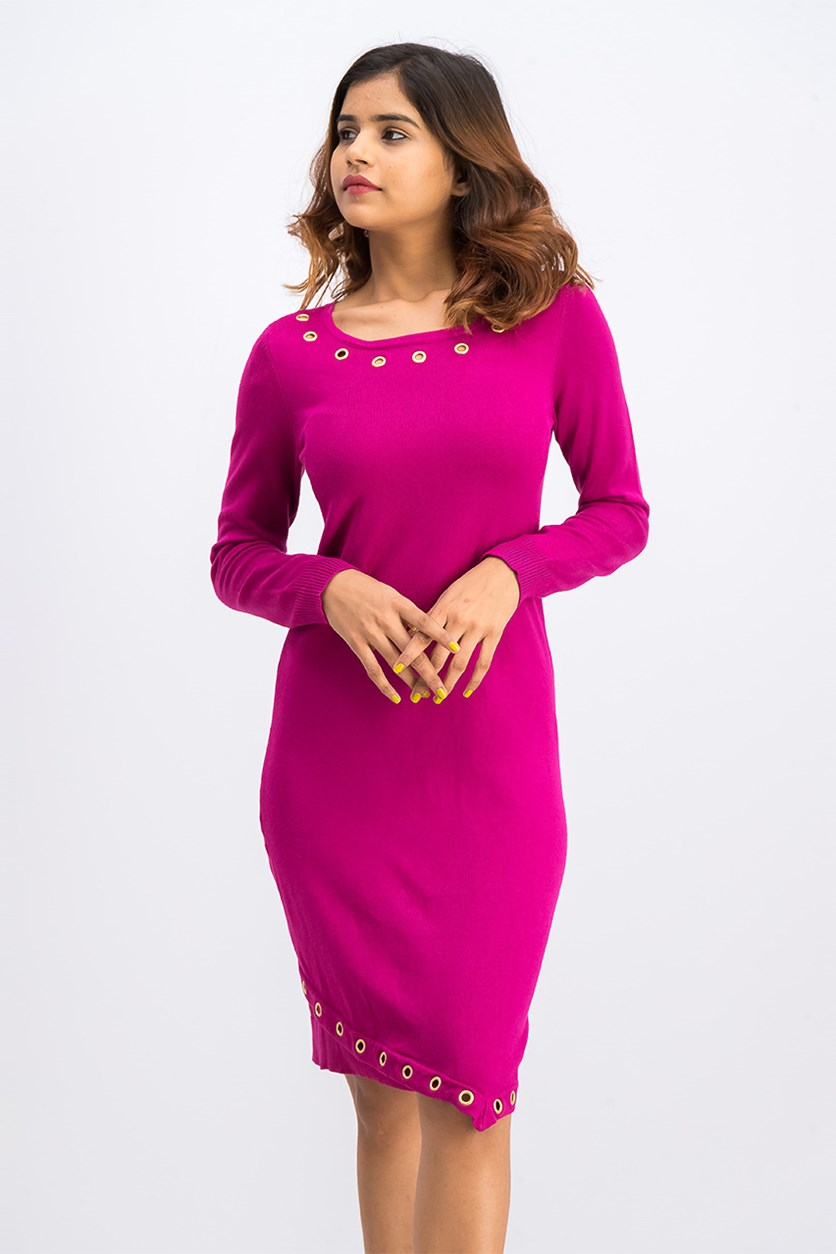 Women's Petites Grommet Ribbed Trim Sweaterdress, Fuschia