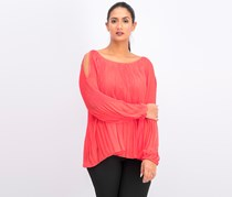 Pleated Cold-Shoulder Top, Hibiscus Bloom