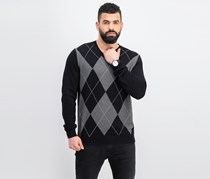 Mens Argyle Pima Cotton Sweater, Deep Black