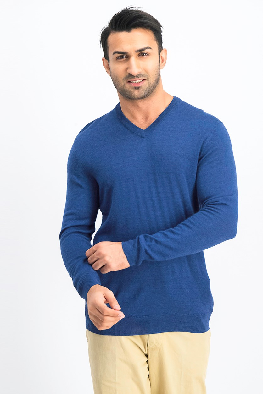 Mens V-Neck Sweater, Navy Blue
