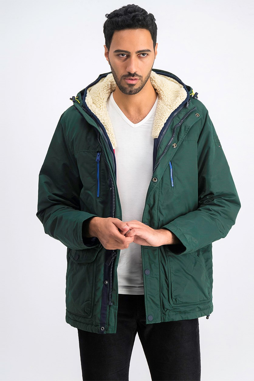 Mens Hilltop Hooded Coat, Green