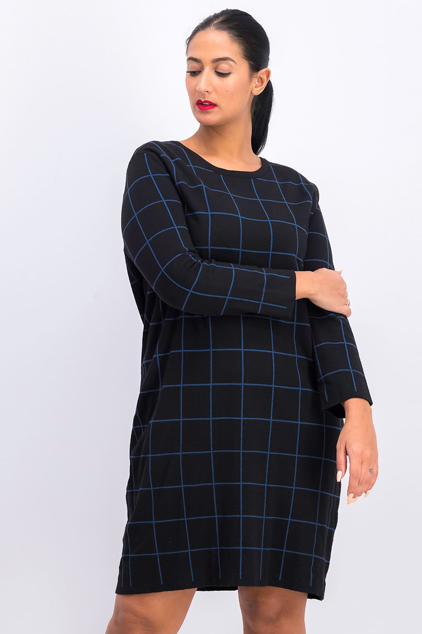 Women's Crew Neck Sweater Dress, Black/Blue