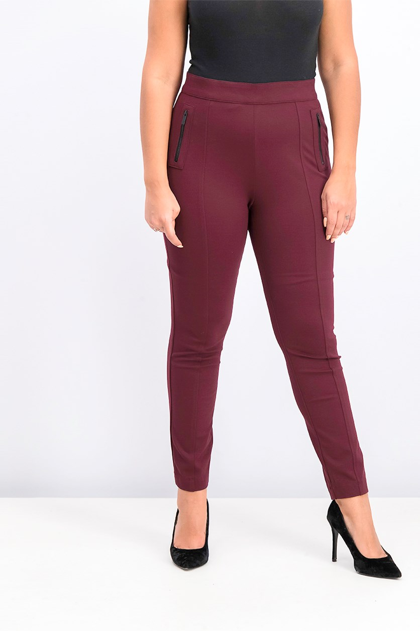Women's Zippered Skinny Casual Pants, Maroon