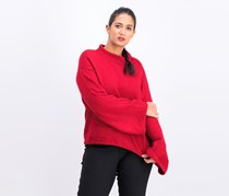Womens Mock Neck Wide Sleeve Long, Red