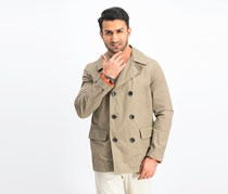 Men's Double-Breasted Pea-Coat, Tan Brown