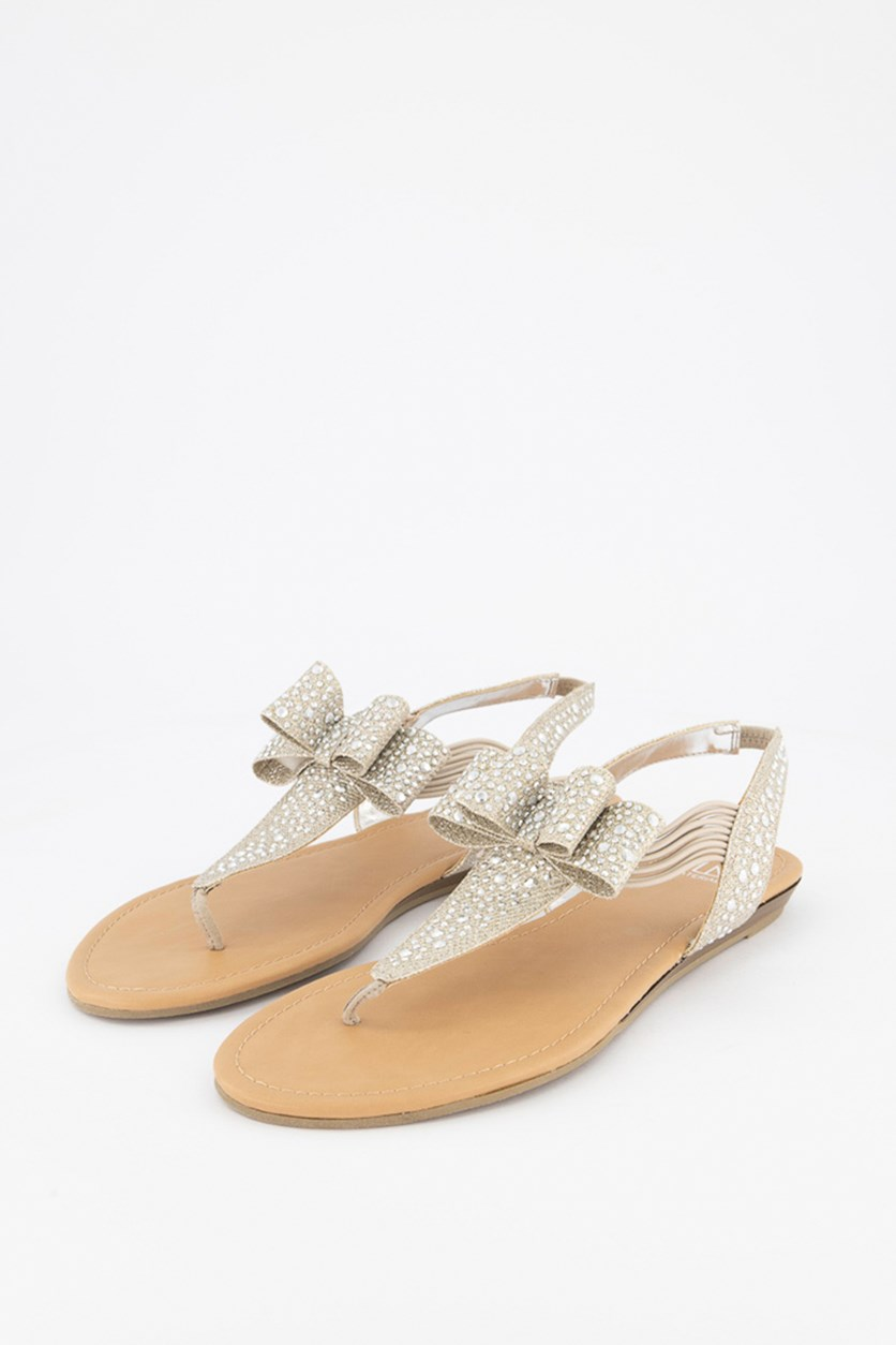 Shayleen Flat Thong Sandals, Silver Combo