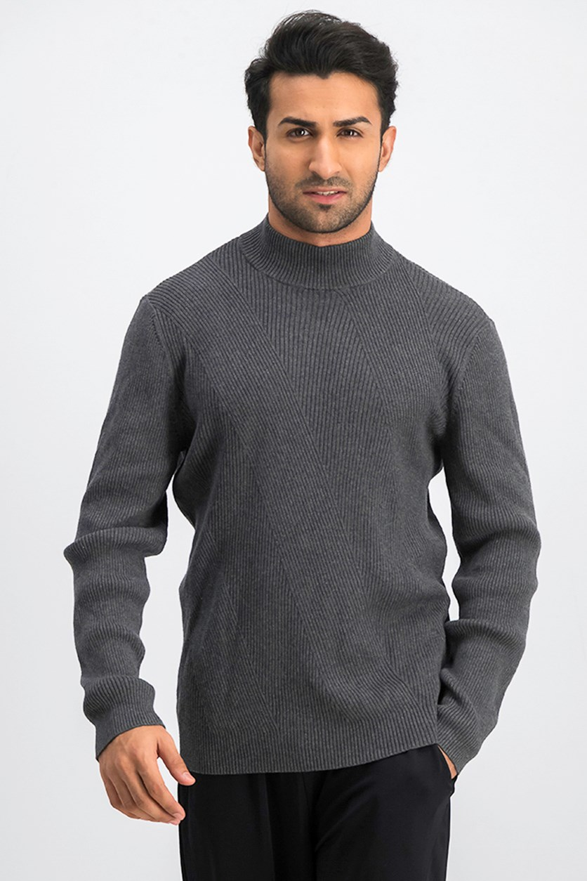 Men's Mixed Rib-Knit Mock-Neck Sweater, Charcoal Heather