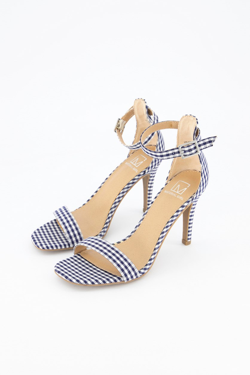 Women Blaire Two-Piece Dress Sandals, Blue Gingham