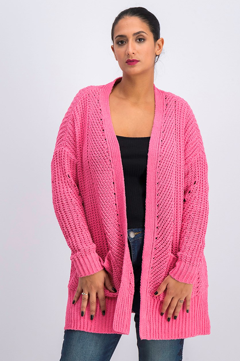 Women's Chenille Open-Front Cardigan, Pink