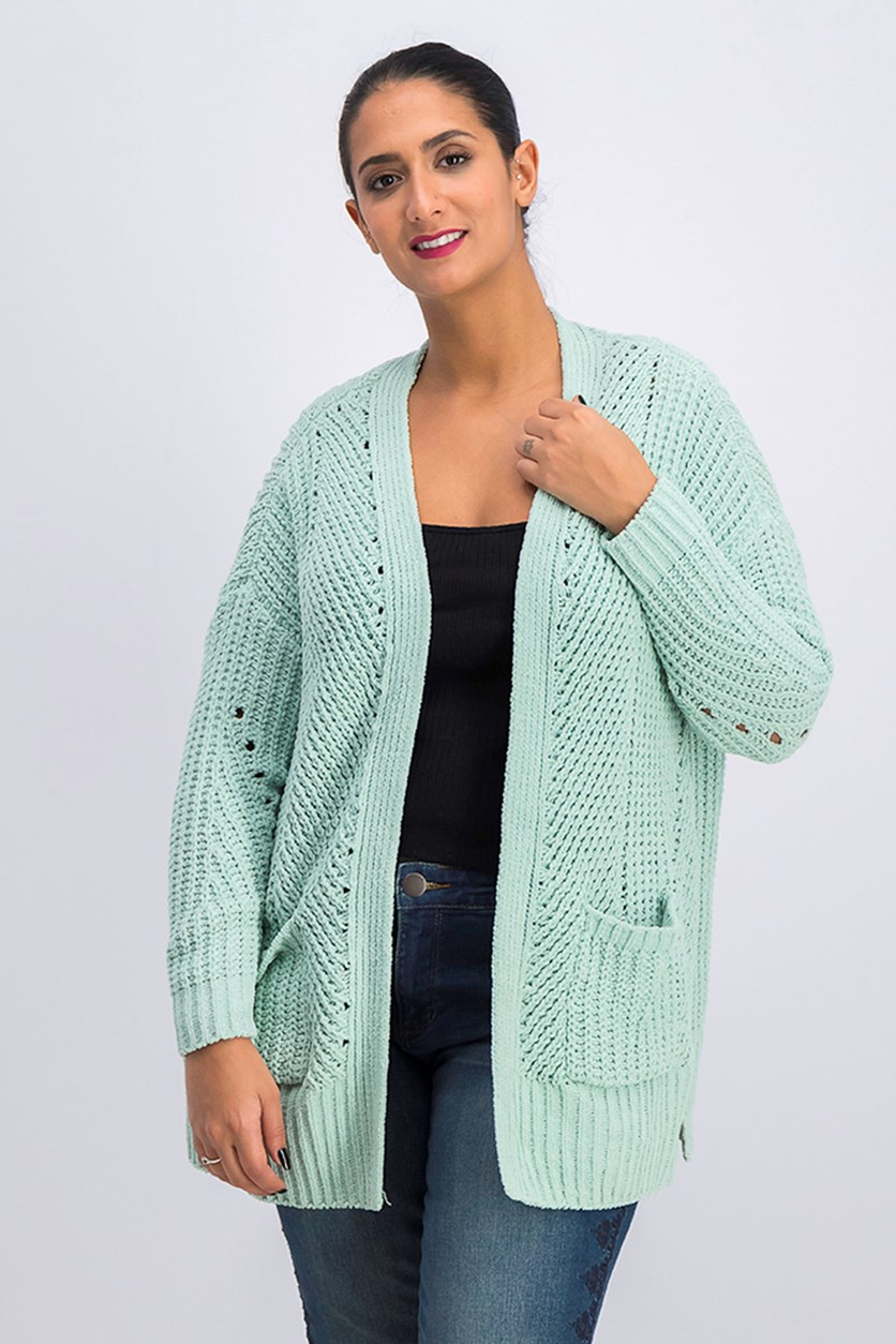 . Womens Petites Ribbed Open Front Cardigan Sweater, Mint Ice