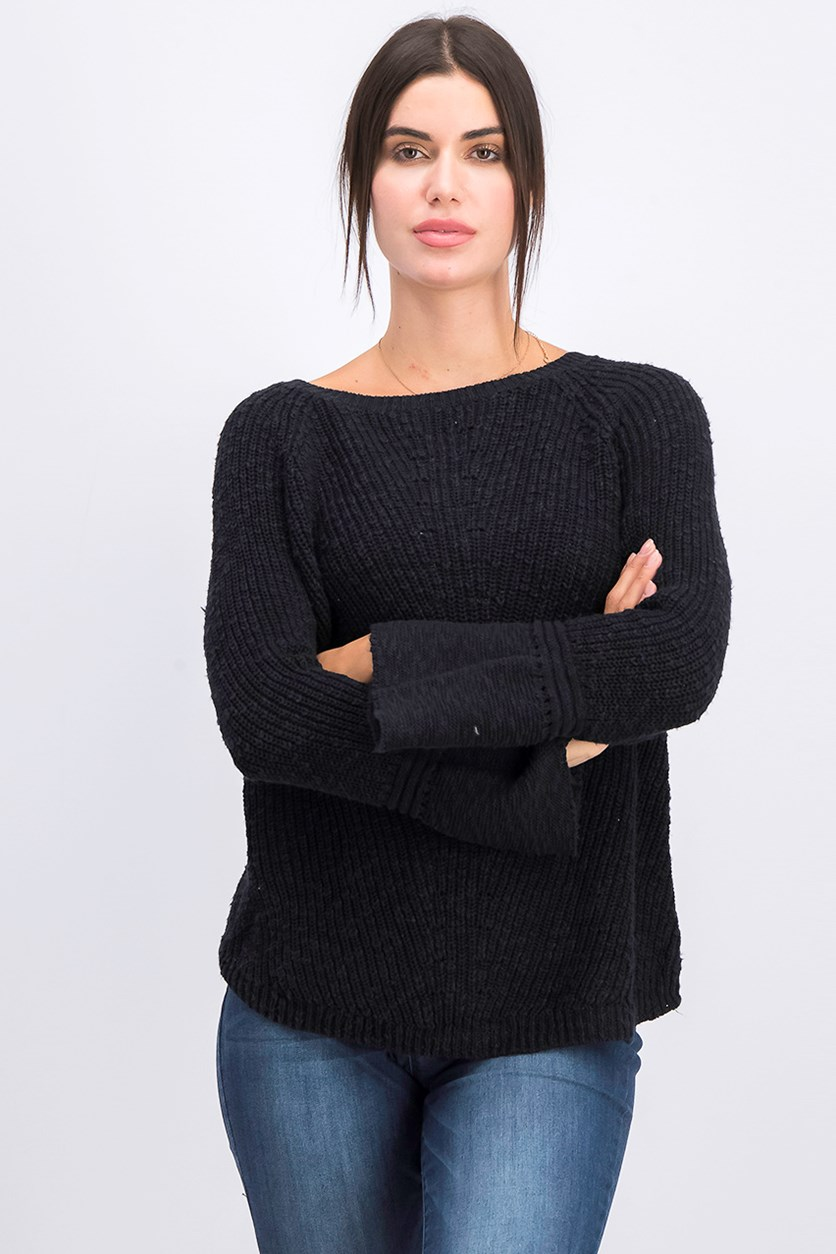 Cotton Bell-Sleeve Sweater, Deep Black
