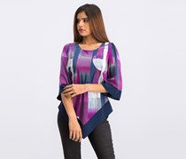 V-Hem Geometric-Print Top, Purple/White Combo